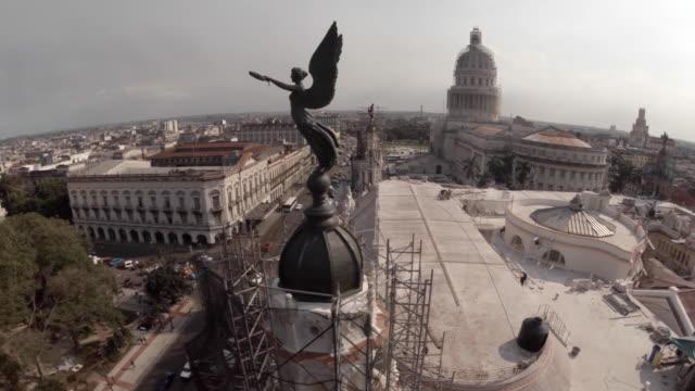 Drone shot over capitol building in Havana Cuba