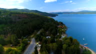 Drone shot side dolly panorama revealing gorgeous countryside with a near lake and forest