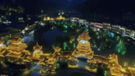 Drone view of a typical Chinese town at night Zhaoxing