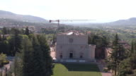 A drone view of Basilica of men at work in Santa Maria di Collemaggio in L'Aquila on June 8 2017 The church was damaged in the last 2009 Earthquake...