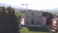 A drone view of Basilica of Santa Maria di Collemaggio in L'Aquila on June 8 2017 The church was damaged in the last 2009 Earthquake of L'Aquila The...