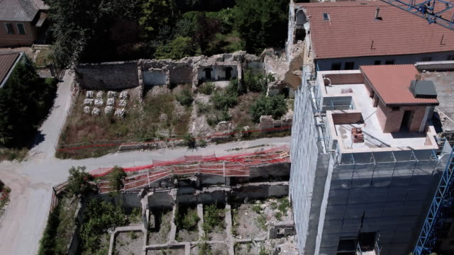 A drone view of damaged building in L'Aquila on June 6 2017 On Monday April 6th of 2009 a powerful earthquake measuring 58 on the Richter scale shook...