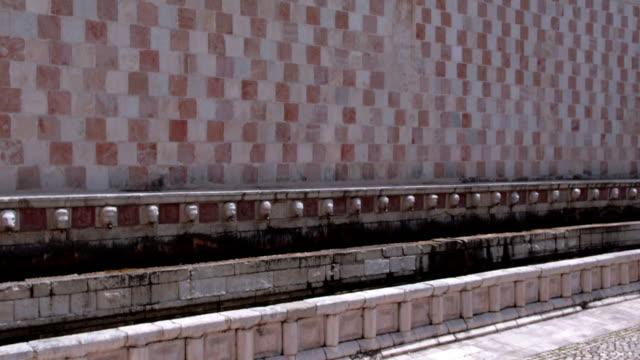 Drone View of Fountain of the 99 Spouts L'Aquila Abruzzo Italy