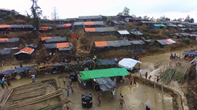A drone view of Rohingya Refugees at Hakim Para Refugee Camp in Cox's Bazar Bangladesh on September 19 2017 Nearly 400000 Rohingya refugees have fled...
