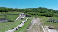 A drone view of Roman Amphitheatre in Amiternum near L'Aquila on May 30 2017 Amiternum a traditional settlement of the Sabines is an ancient Sabine...