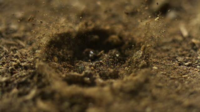 Drop of water falling onto dry earth. Filmed at 9000fps (slowed down 360 time)