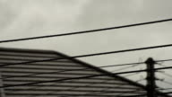 Droplets on electric cable with rainy clouds for backgrounds.