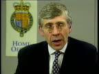 Cabinet Minister's Son ITN ENGLAND London Home Office Jack Straw MP intvwd son accepts responsibility for actions awaiting outcome of police...