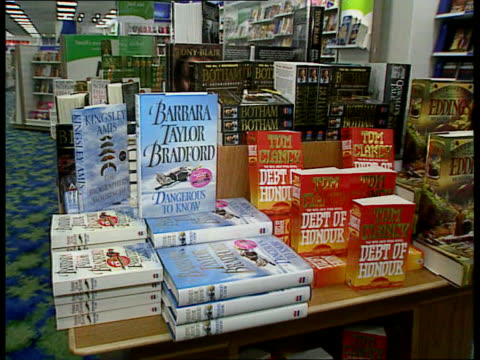 Supermarkets drop medicine prices LIB High Holborn TMSs Books on display on table in W H Smiths bookshop Shop assistant in ASDA placing vitamins on...