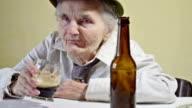 Drunk elderly woman
