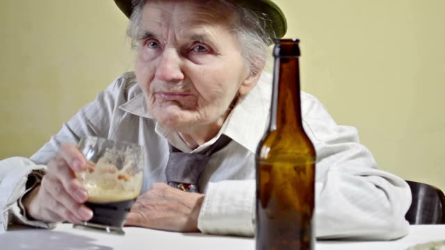 Drunk elderly woman