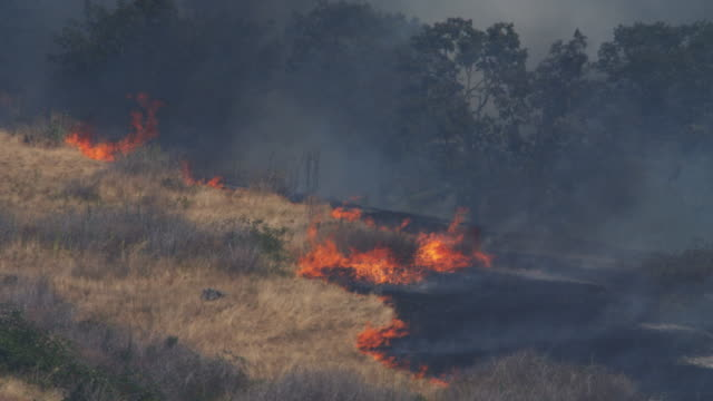 Dry grass blazes up at the edge of charred ground on a smoky hillside