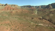 A dry wash runs down into the Grand Canyon.