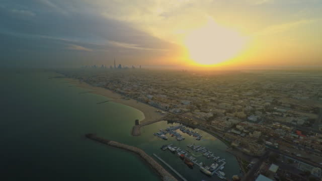 AERIAL Dubai at sunset