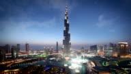 Dubai Skyline at dusk with fountain light show
