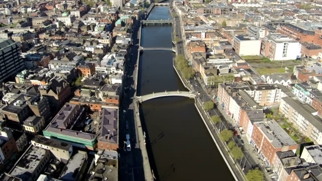 Dublin aerial video of river liffey