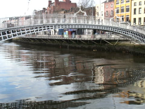 Dublin, Ireland: People Crossing the Ha'penny Bridge -Time Lapse-
