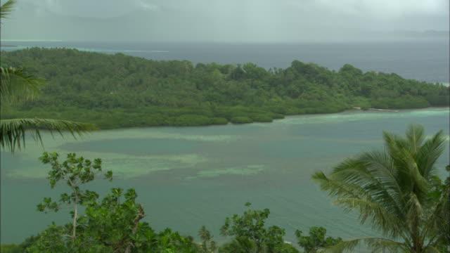 Dublon Island with jungle and ocean, Chuuk Lagoon, South Pacific