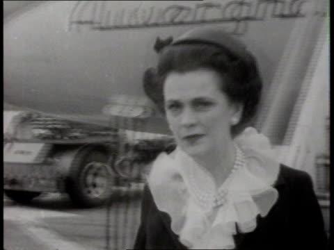 Homesick maid telephone bill LAP LA Margaret Duchess of Argyll down TX 9563 aircraft steps ITN CMS Margaret across tarmac B/W TCMS...
