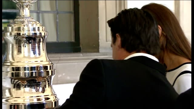 Duchess of Cambridge arrival and viewing America's Cup Various Catherine Duchess of Cambridge viewing trophy / Kate looking at trophy with Ainslie...