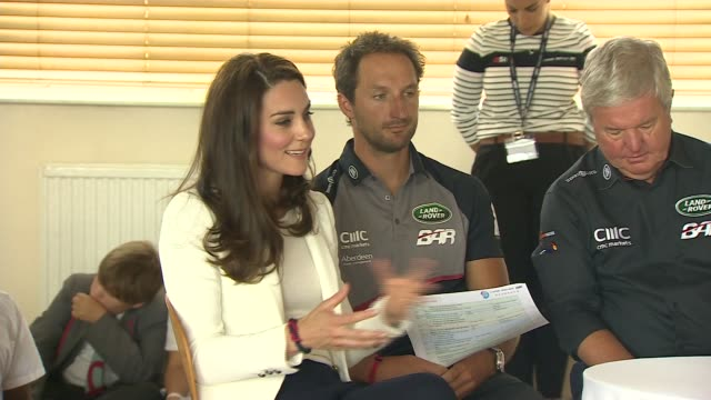 Duchess of Cambridge attends Land Rover BAR roadshow at Docklands Various of older pupils in lecture theatre / Catherine Duchess of Cambridge joins...