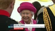 ITV News Special PAB ENGLAND North Yorkshire Richmond Castle Queen Elizabeth II chatting to people London Paddington St Mary's Hospital Town Crier...