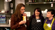 Duchess of Cambridge visits addiction charity and hospital in Liverpool ENGLAND Merseyside Liverpool INT Catherine Duchess of Cambridge tasting...
