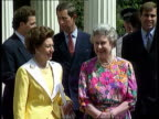 Photographs 4TH AUGUST 1992 London Clarence House CMS Queen smiles for cameras PULL MS Queen together with Princess Margaret and Princess of Wales...