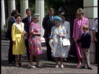 Photographs DAY 4TH AUGUST 1992 London Clarence House CMS Queen smiles for cameras PULL MS Queen together with Princess Margaret and Princess of...