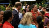 Duke and Duchess of Cambridge Far East and South Pacific tour Day 7 Solomon Islands SOLOMON GVs Prince William playing football with children / GVs...