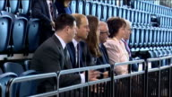 Duke and Duchess of Cambridge Glasgow visit Emirates Arena Vairous of Duke and Duchess of Cambridge watchign as 2014 Commonwealth Games Mascot...