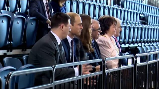 Duke and Duchess of Cambridge Glasgow visit Emirates Arena Vairous of Duke and Duchess of Cambridge watchign as 2014 Commonwealth Games Mascot...