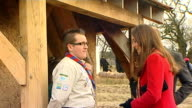 Duke and Duchess of Cambridge join Prince Charles to visit Dumfries House Kate Charles and William chatting to scouts outside hut / Kate Charles and...