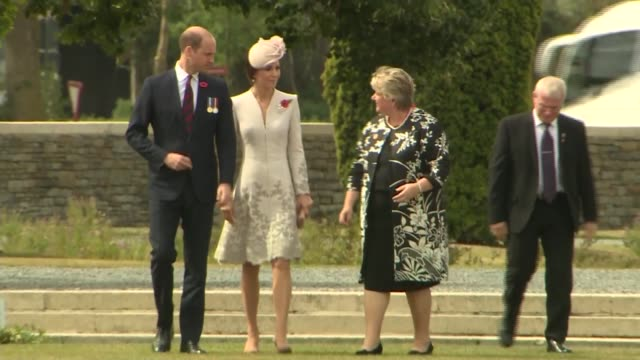 Duke and Duchess of Cambridge visit cemetery near Ypres BELGIUM Ypres Commonwealth War Graves Bedford House Cemetery EXT Gravestones and flowers in...
