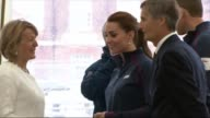 Duke and Duchess of Cambridge visit Portsmouth naval base ENGLAND Hampshire Portsmouth INT Photographers / people waiting / wooden toy boats being...