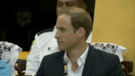 Duke Duchess of Cambridge Far East South Pacific tour Day 8 Tuvalu ***FLASH William and Kate entering hall / close shot Kate / close shot William /...