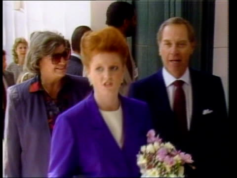 Duke Duchess of York in LA CMS Artist David Hockney MS Hockney next to one of his paintings CMS Hockney towards PULL OUT AV Title 'David Hockney a...
