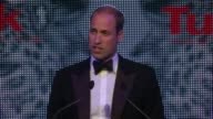 Duke of Cambridge attends Tusk event Prince William speech SOT / David Attenborough video address on screen SOT / Guests at table