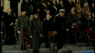 Duke of Edinburgh attends Last Post ceremony in Ypres INT Duke of Edinburgh at church service / Prince Philip along with others laying wreaths / Duke...