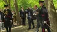 Duke of Edinburgh attends regimental remembrance service ENGLAND London Whitehall Horseguards Parade EXT Prince Philip from car and greets cleric /...