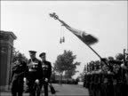 Duke of Gloucester unveils war memorial for Commonwealth troops GERMANY Groesbeck EXT Prince Henry meeting line of people / Duke and other along /...