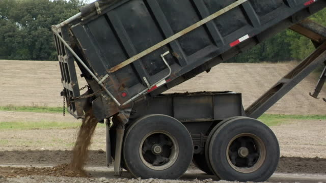 MS Dump truck dumping mound of dirt and driving away/ Kewaunee, Illinois