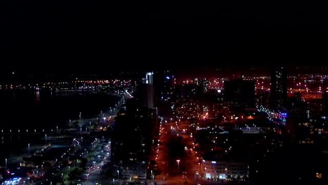 WS HA  Durban harbor and city at night / Durban/ South Africa