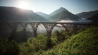 Durdevica Tara Bridge in mountains on sunrise. Time-lapse.