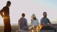 Dusk Beach Bonfire