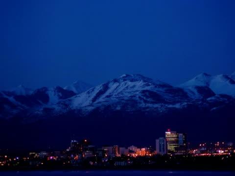 T/L dusk over city, Anchorage, Alaska, USA
