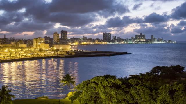 TL, WS Dusk to night of Old Havana and harbour / Havana, Cuba