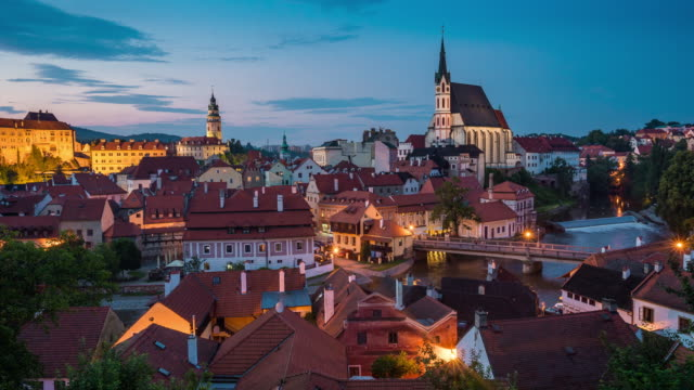 Dusk to Night Time Lapse, Cityscape at Cesky Krumlov , Czech