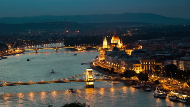 Dusk to Night Time Lapse of Cityscape at Budapest, Hungary