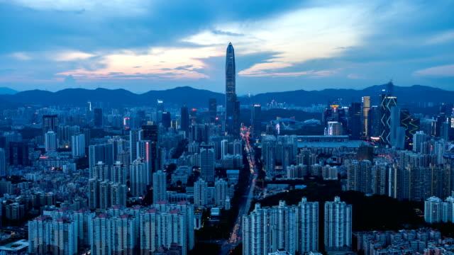 dusk to night time lapse of Shenzhen